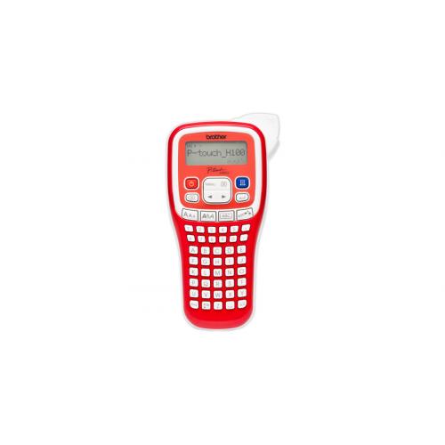 Brother PT-H 100 punainen tarrakirjoitin 2-rivin tulostus AAA-paristot 6mm, 9mm, 12mm TZ-nauhat