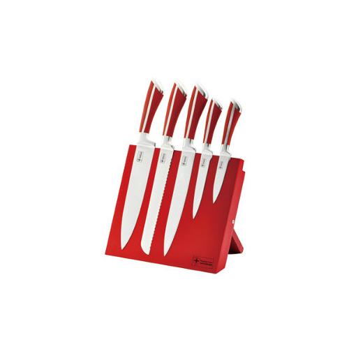 Royalty Line Keittiöveitsisarja 5kpl +Taittuva Magneettiteline Punainen
