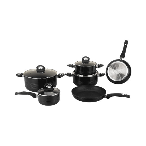 Royalty Line 10 Pcs Marble Coating Cookware Set Black