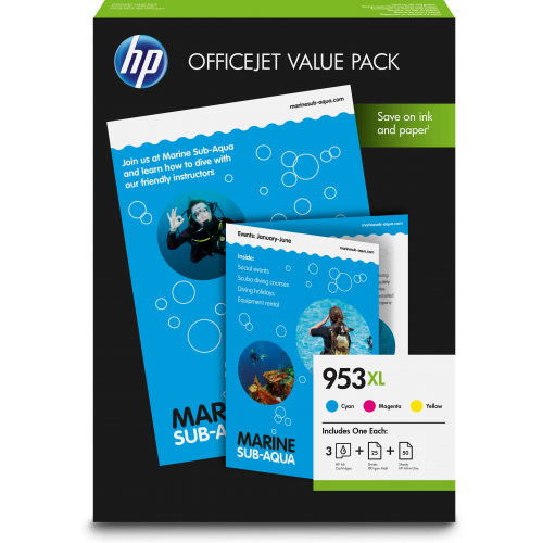 HP 953XL Office Value Pack with 50 sheets AIO Printing Paper + 25 pagina s Prof IJ Paper, mat 180g m