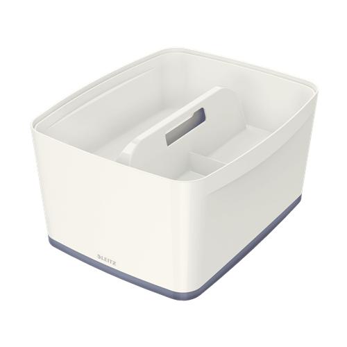 LEITZ MyBox L säilytyslokerikko kahvalla valkoinen/harmaa