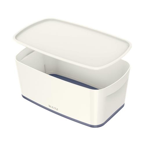 LEITZ MyBox S säilytyslaatikko kannella valkoinen/harmaa