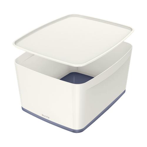 LEITZ MyBox L säilytyslaatikko kannella valkoinen/harmaa