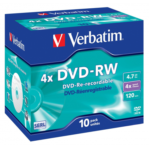 Verbatim DVD-RW 4.7GB 4x Jewel Case 10 Pack