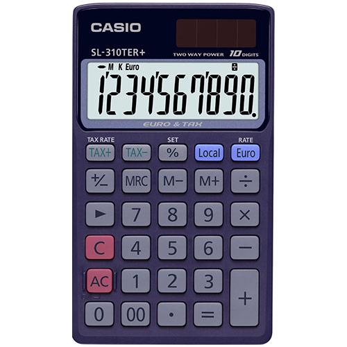 CASIO SL-310TER taskulaskin, valuutta/vero toiminto, 10-numeron näyttö