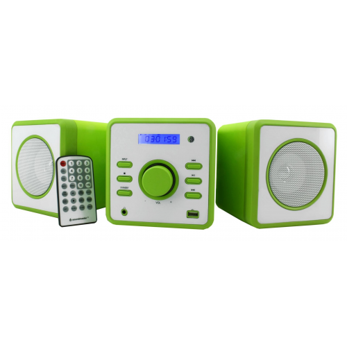 Soundmaster CD MP3 Micro Music-Centre with USB and Clock Green