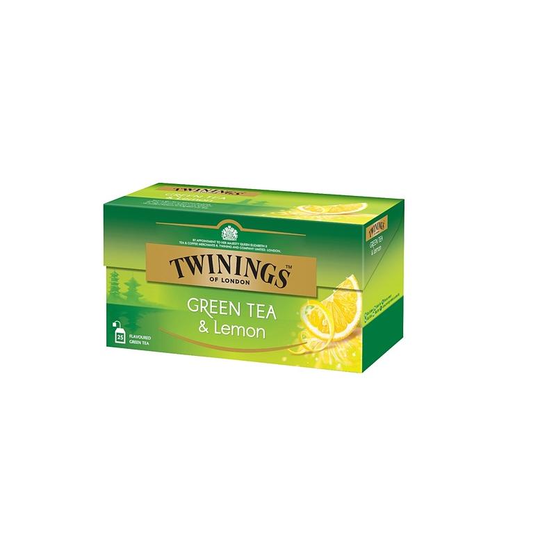 Twinings tee, vihreä tee ja sitruuna, 25kpl/pkt (12pkt/ltk)