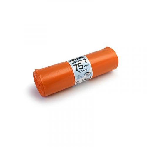 Jätesäkki 75L oranssi 20kpl/rll LD 65X90X0,04 (15rll/ltk)