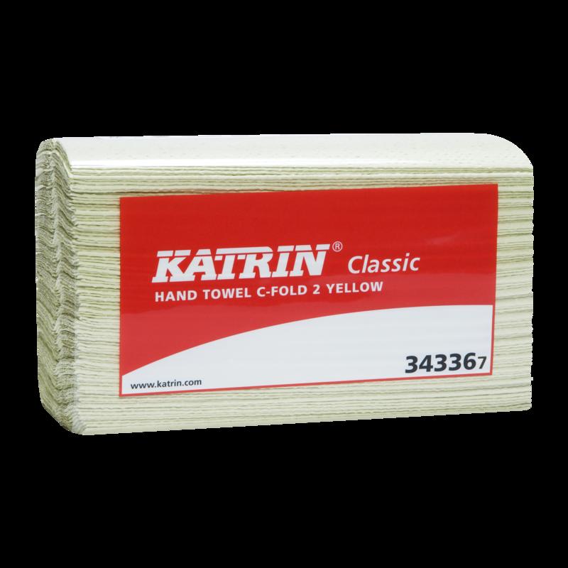Katrin Classic C-fold 2 käsipyyhe(palapyyhe) 2-kr keltainen 100arkkia/pkt, 16pkt/säkki(28 sk/lava)