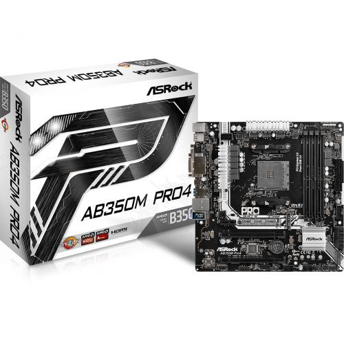 ASROCK AB350M Pro4 mATX AMD AM4 Socket 4xDDR4 2xPCI-Ex16 1xPCI-Ex4 1xPCI-Ex1
