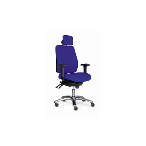 PRO 40 tuoli sininen, korkea selkänoja, käsinojat, niskatuki