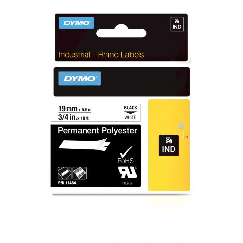 Dymo Rhino 19mm x 5,5m valkoinen musta teksti polyesterteippi 254209