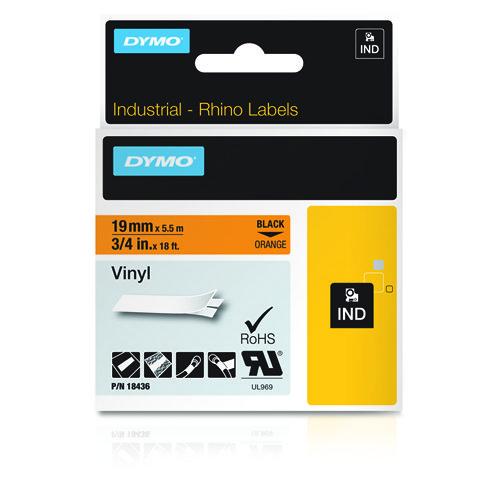 Dymo Rhino 19mm X 5,5m oranssi/musta teksti vinyyliteippi