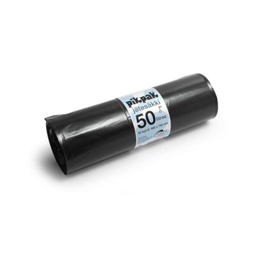 Jätesäkki 50L PIKPAK musta 20kpl/rll (15rll/ltk)