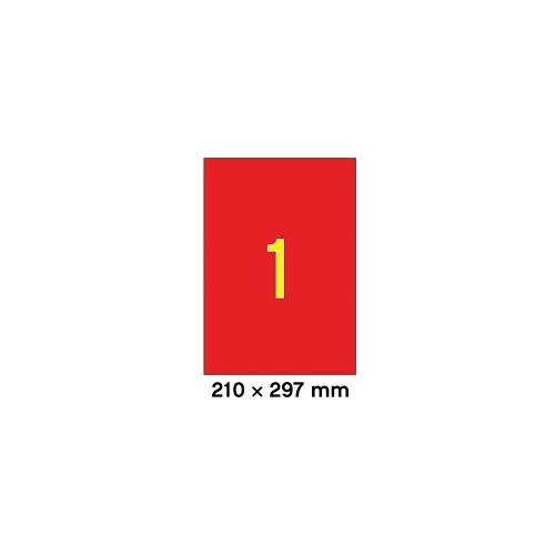 Apli 1-jak 210x297mm punainen tulostustarra 20ark ltk