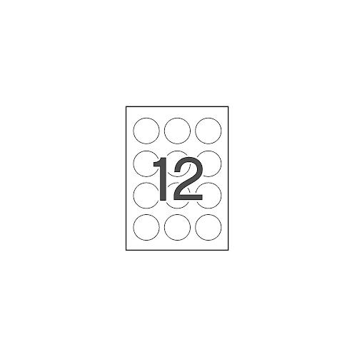 Apli 1244 valkoinen 60mm pyöreä tulostustarra 12kpl arkilla 100kpl pkt (5pkt ltk)