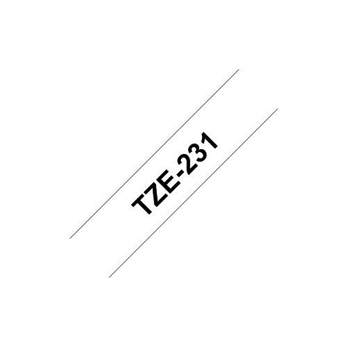 Brother TZe-231 valkoinen pohja/musta teksti, Laminoitu Tarranauha (12mm x 8m)