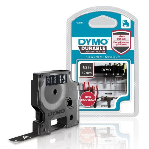 Dymo Durable D1, 12mmx3m musta pohja valkoinen teksti kestotarra