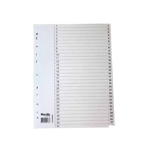 NORDIC OFFICE välilehti 1-31 muovi A4 valkoinen