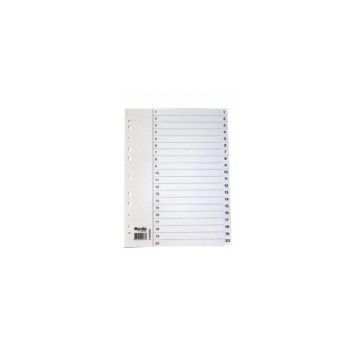 NORDIC OFFICE välilehti 1-20 kartonki A4 valkoinen