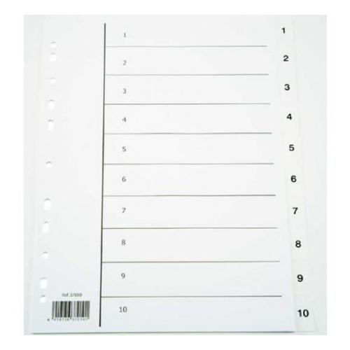 NORDIC OFFICE välilehti 1-10 kartonki A4 valkoinen