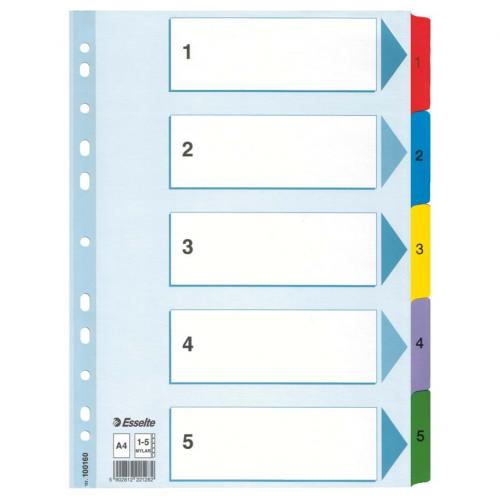ESSELTE Mylar muovikielihakemisto 1-5 kartonki
