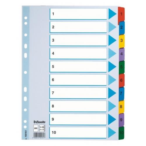 ESSELTE Mylar muovikielihakemisto 1-10 ylileveä kartonki A4+