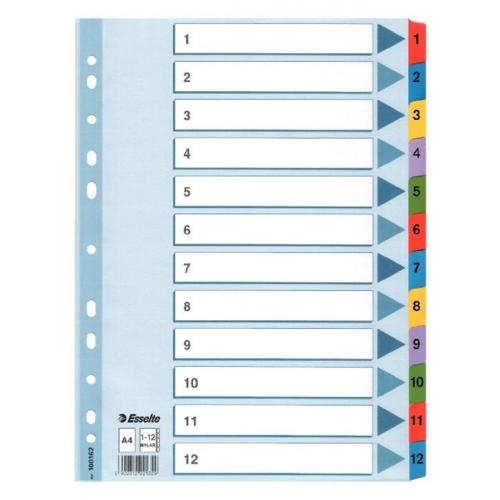 ESSELTE Mylar muovikielihakemisto 1-12 ylileveä kartonki A4+