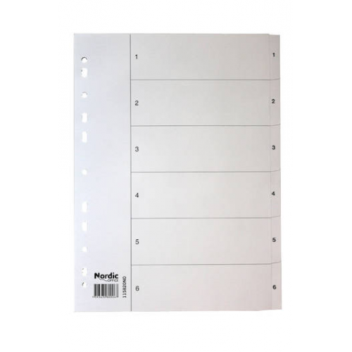 NORDIC OFFICE välilehti 1-6 kartonki A4 valkoinen