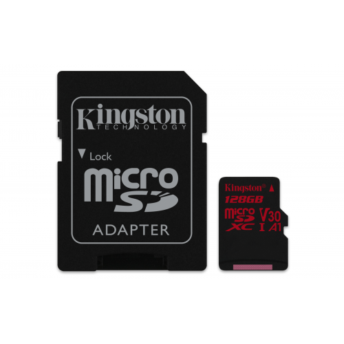 KINGSTON 128GB microSDXC Canvas React 100R/80W U3 USH-I V30 A1 Card with SD adapter