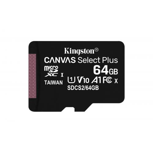 KINGSTON 64GB micSDHC Canvas Select Plus 100R A1 C10 Card + ADP