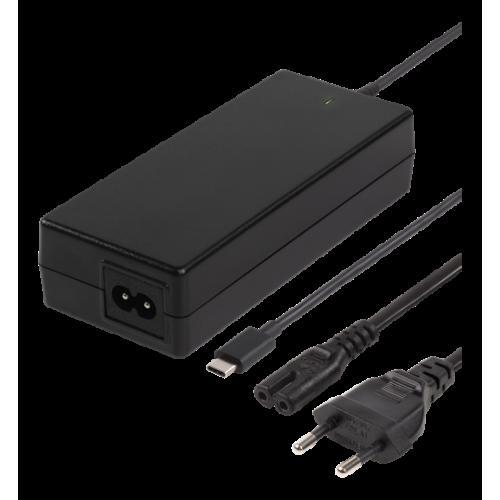 DELTACO USB-C-laturi kannettavalle tietokoneelle, 87 W, 2 x USB-A, PD 2.0, 4,35 A, musta