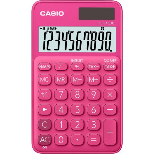 CASIO SL-310UC-RD taskulaskin 10-numeroinen punainen