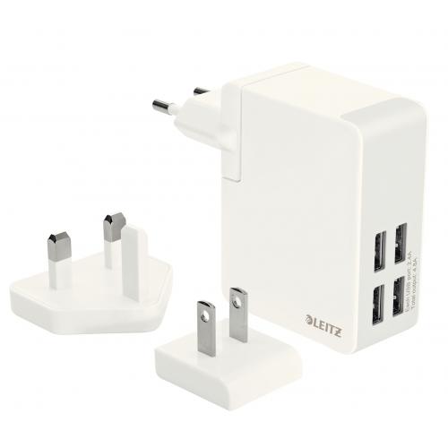 LEITZ Traveller seinälaturi USB 4 portilla 24W