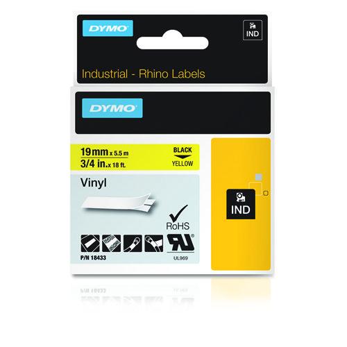 Dymo Rhino 19mm x 5,5m keltainen musta teksti vinyyliteippi