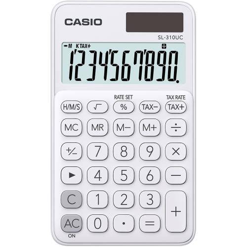 CASIO SL-310UC-WE taskulaskin 10-numeroinen valkoinen