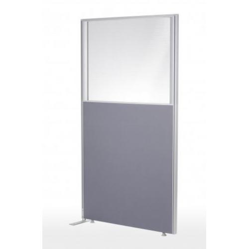 ECONOMY yläikkunallinen seinäke k1600 x1000 verhoiltu harmaa, sis 4kpl lukitusosaa ja päätyosan pe