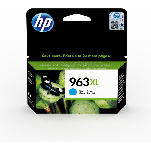 HP 963XL High Yeld Cyan Ink, riittoisuus jopa 1600 sivua