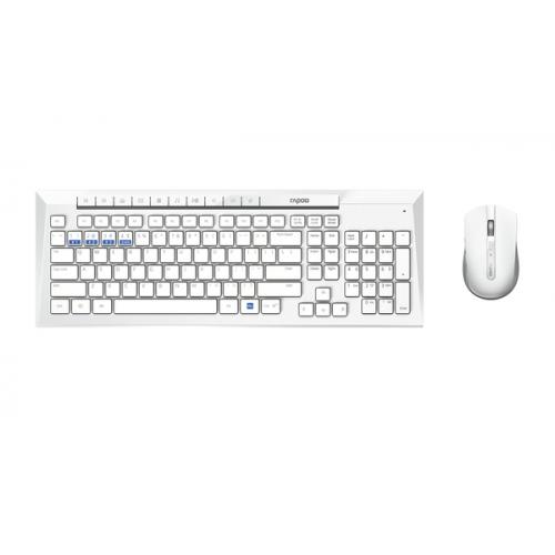 Rapoo 8200M Office Wireless Multi-Mode Keyboard+Mouse Set, White