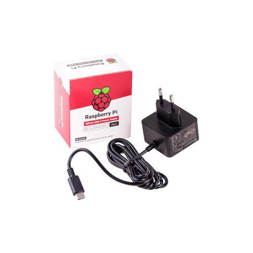 Raspberry Pi Accessory, Raspberry Pi 4 Model B Official PSU, USB-C, 5.1V, 3A, EU Plug, Black