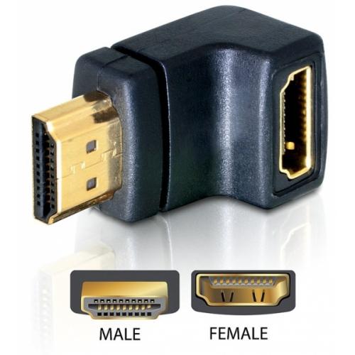 HDMI-sovitin, 19-pin uros - naaras, kulmaliitin, kullatut liittimet