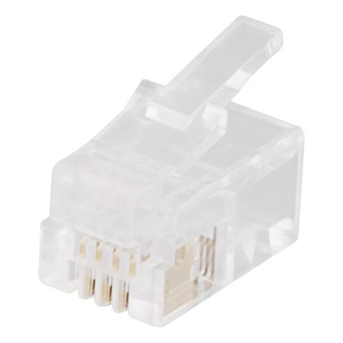 Modulaariliitin RJ9/10/22, 4P4C, 20 kpl pakkaus, läpinäkyvä