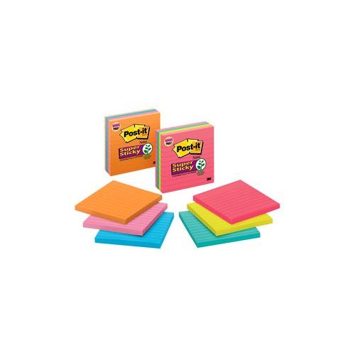 POST-IT 675 Super Sticky Meeting Notes viivat värilajitelma 3nid/pkt