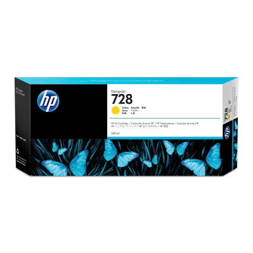 HP 728 300ml Yellow mustepatruuna