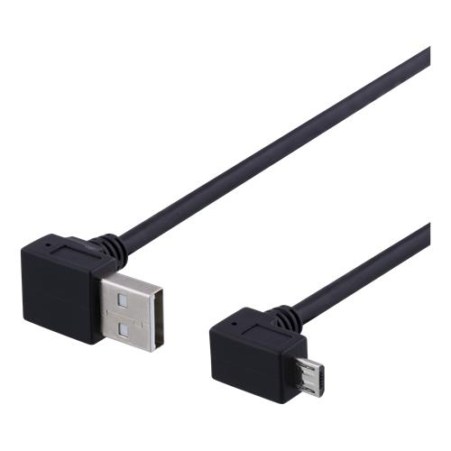 Kulmamallinen Micro-USB-kaapeli, 0,5m, High-Speed, musta