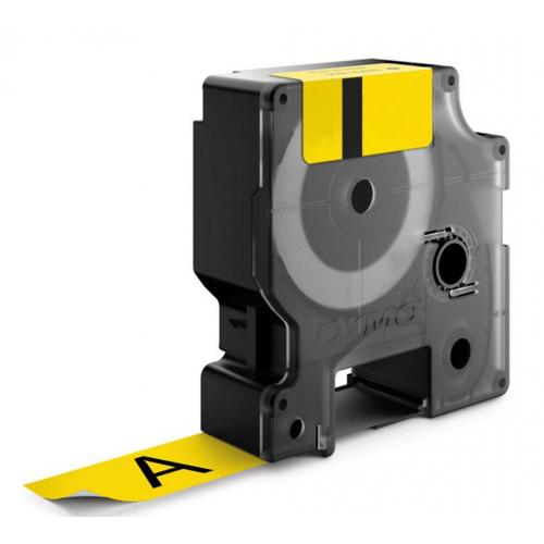 Dymo Rhino 24mm X 5,5m keltainen musta teksti vinyyliteippi