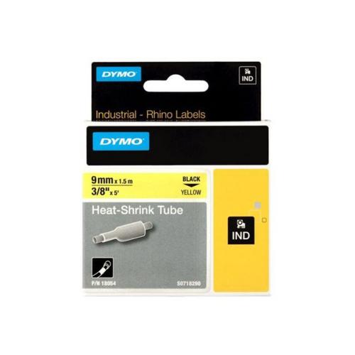 DYMO Rhino 9mm musta teksti/keltainen pohja kutistesukka