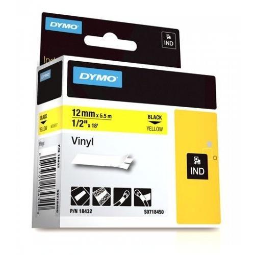 Dymo Rhino 12mm X 5,5m keltainen musta teksti vinyyliteippi S0718450