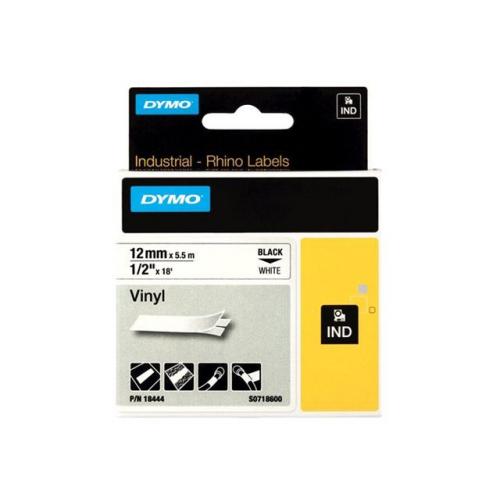 Dymo Rhino 12mm X 5,5m valkoinen musta teksti vinyyliteippi