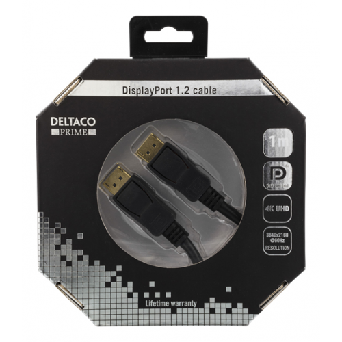 DisplayPort -kaapeli, 20-pin uros - uros, 1m, musta, 4K 60Hz 21,6 Gb/s